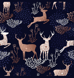 christmas copper deer seamless pattern background vector image