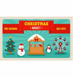Christmas market banner flat style vector
