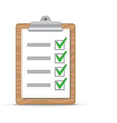 Clipboard and checklist vector image vector image