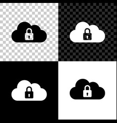 cloud computing lock icon isolated on black white vector image