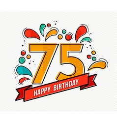 Colorful happy birthday number 75 flat line design vector