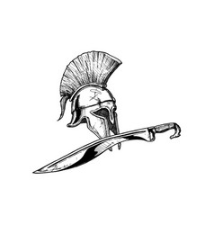 Corinthian helmet and kopis sword vector