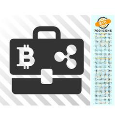 Cryptocurrency portfolio flat icon with bonus vector