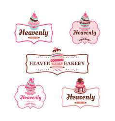 cupcakes bakery logo collectionweb vector image
