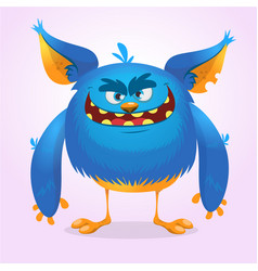 Cute furry blue monster vector