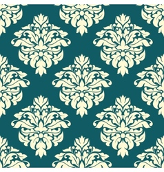 Damask seamless pattern with green and beige vector