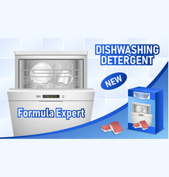 Dishwasher concept background realistic style vector