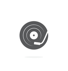 dj turntable icon on white background vector image