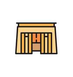 Egyptian tomb pharaoh sarcophagus color line icon vector