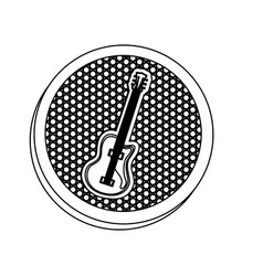 emblem electric guitar icon vector image