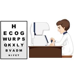 Eye doctor using eye checking machine vector