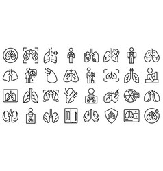 fluorography icons set outline lung health vector image