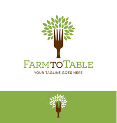 Fork tree logo vector