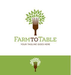 fork tree logo vector image