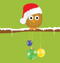 funny animal with christmas balls on the snow vector image