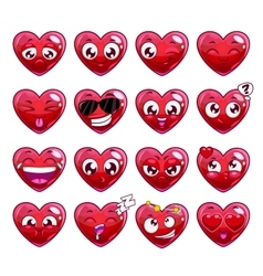 Funny cartoon heart character emotions set vector