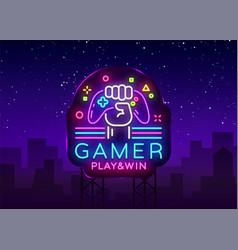 gamer play win logo neon sign logo design vector image