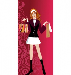 Glam shopping girl vector