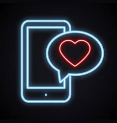 glowing neon phone with red heart emoji message on vector image