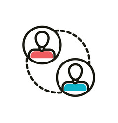 group people social media icon line and fill vector image