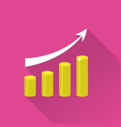 growing piles of gold coins with arrow icon vector image