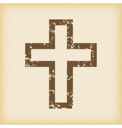 Grungy christian cross icon vector image