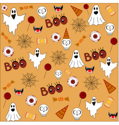 Halloween pattern orange background with ghosts vector
