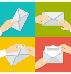 Hand Holding Envelope Flat style set vector