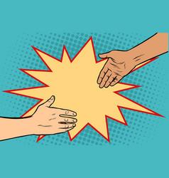 handshake african and caucasian vector image vector image