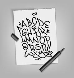 Handwritten broad marker font alphabet artistic vector