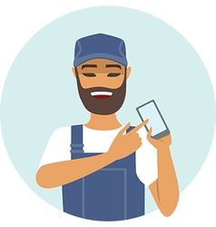 Handyman holding smart device vector