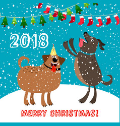 happy dogs 2018 merry christmas card vector image