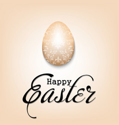 happy easter decorated egg with vintage lettering vector image