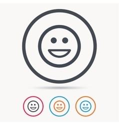 Happy smile icon Smiley laugh emoticon sign vector