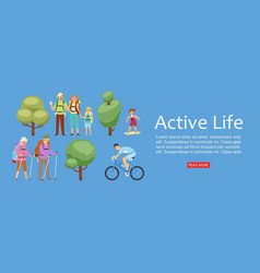 healthy lifestyle family riding bikes web banner vector image