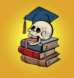 human skull on books vector image