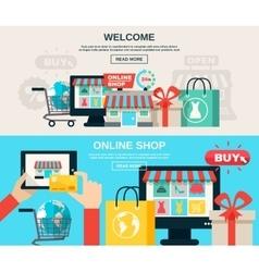Internet Store Flat Banner Set vector image