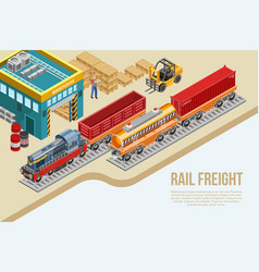 Isometric railway freight delivery vector
