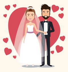 Just married couple with hearts avatars characters vector