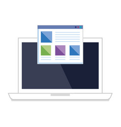 Laptop with webpage template vector