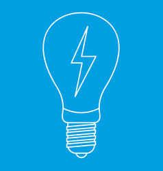light bulb with lightning inside icon outline vector image