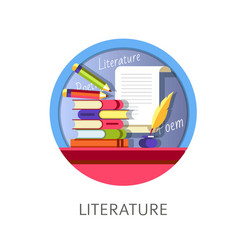 Literature subject studies themed concept logo vector