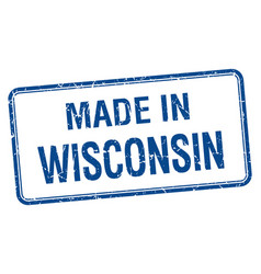 Made in wisconsin blue square isolated stamp vector
