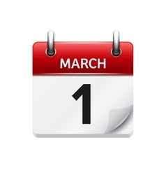 March 1 flat daily calendar icon Date and vector