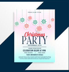 merry christmas party poster design with vector image