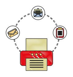 office printer email clipboard documents vector image