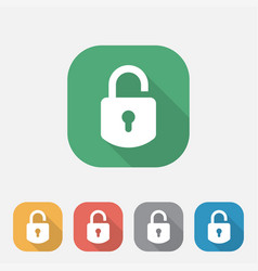 padlock flat icon secure sign vector image