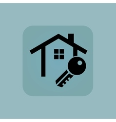 Pale blue house key icon vector