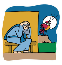 peter the apostle hears the rooster crow vector image