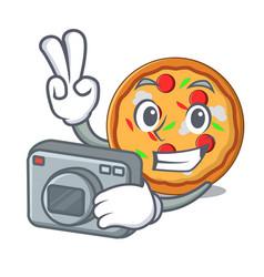 Photographer pizza mascot cartoon style vector